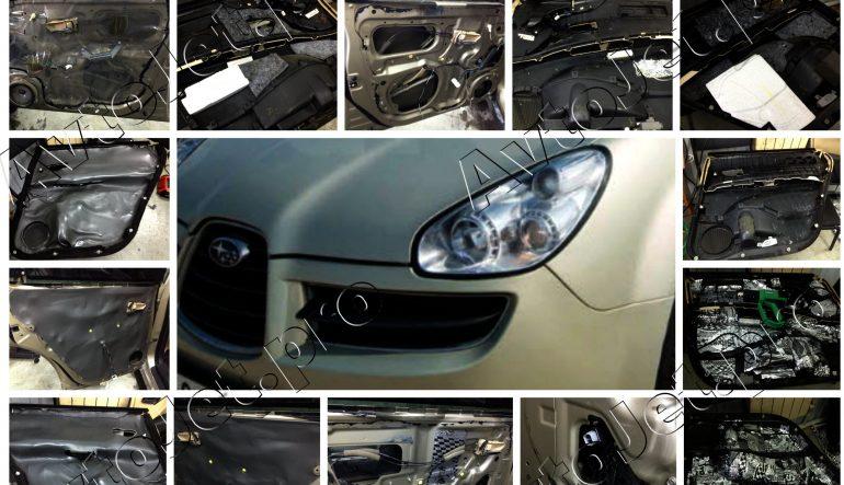 Комбо-премиум шумоизоляция дверей на автомобиле Subaru Tribeca