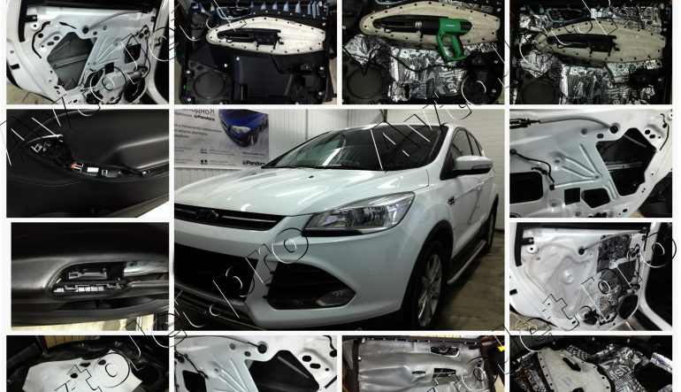 Комбо-премиум шумоизоляция дверей на автомобиле Ford Kuga
