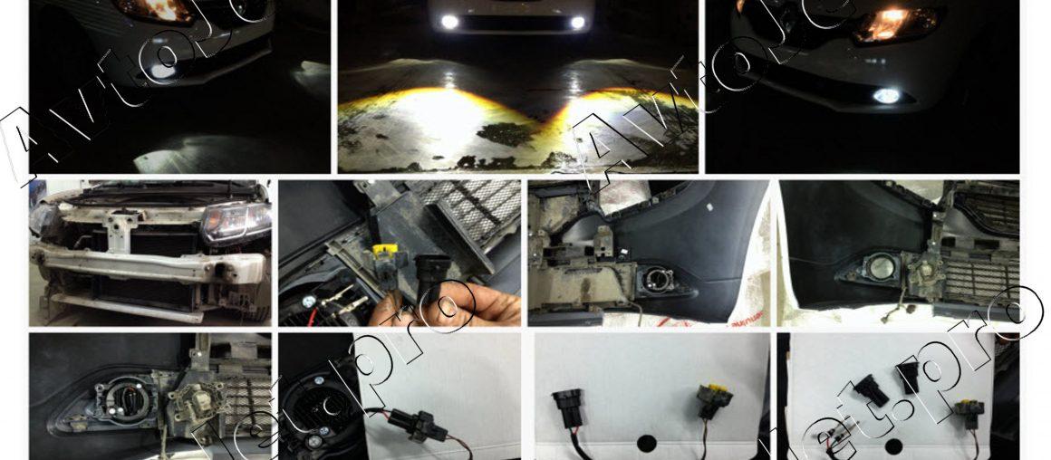 Установка ПТФ Morimoto автомобиль Renault Logan II